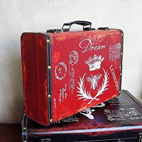 ZYFBG Estantes de Pared Maleta de Madera de Almacenamiento de Madera de la Corona del Vintage Retro, Idea de Regalo para la Navidad, cumpleaños, Caja de Juguete Accesorios (Color : Red)