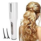 Rizador de pelo eléctrico automático, rizador de pelo de iones negativos ajustable, herramientas de peinado de viaje portátiles con carga USB para cabello lacio y rizado(blanco)