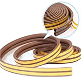 XEUYUTR Weather Stripping for Doors/Windows, Insulation Weatherproof Doors and Windows Soundproofing Seal Strip, Collision Avoidance Rubber Self-Adhesive Weatherstrip, 1 Pack(33 Feet Long, Brown)