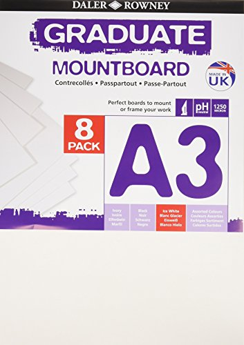 Daler Rowney - 329308091 - Kit De Loisirs Créatifs - Pack De 8 Planches De Montage A3 Graduate - Blanc Glacier
