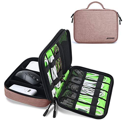 JESWO Kabeltasche, Doppelte Schichte Elektronik Organizer Tasche und Kabel Organizer für Kabel, SD-Karten, Festplatte, Power Bank, iPad Mini (bis zu 7,9 Zoll) – Pink