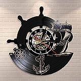 QIANGTOU Barco brújula Naval Vintage náutico decoración de Pared hogar Arte Reloj de Pared Marineros Vinilo Reloj de Pared Hecho a Mano Regalos de navegación