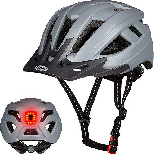ILM Adult Cycling Bike Helmet with LED Rear Light Lightweight for Men Women Urban Commuter MTB Bicycle (Gray, L/XL)
