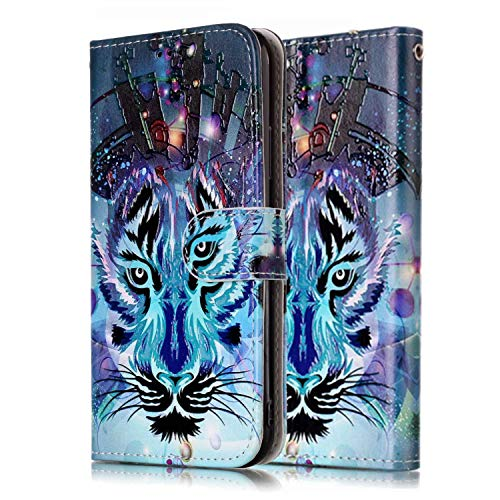 Funda Libro para Samsung Galaxy S9 Carcasa de Cuero Efecto de Mármol Animal Flip Wallet Case Cover con Tapa Teléfono Piel Tarjetero - Lobo