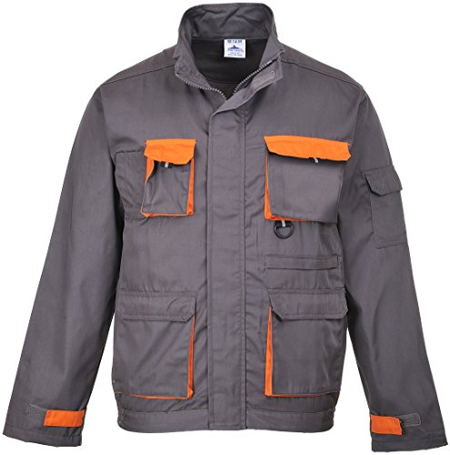 Portwest - Herren Arbeitsjacke 'Texo' Viele Taschen Abnehmbare Ausweistasche Verschiedene Größen - L, Dunkelgrau - Large EU / Large UK
