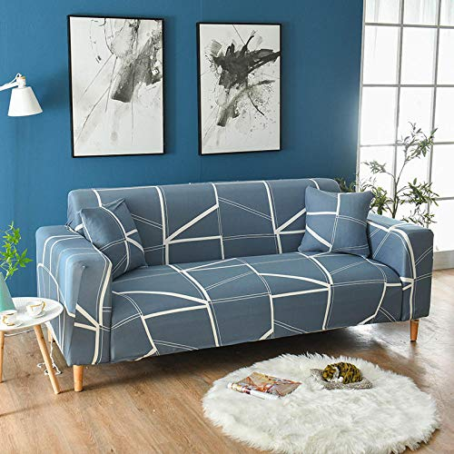 Funda Sofas 2 y 3 Plazas Azul Fundas para Sofa con Diseño Universal,Cubre Sofa Ajustables,Fundas Sofa Elasticas,Funda de Sofa Chaise Longue,Protector Cubierta para Sofá