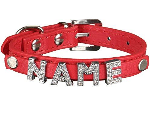Scarlet pet | Hundehalsband »My-Name« inkl. 5 Strass-Buchstaben; mit Namen ihres Hundes personalisierbar; zusätzliche Buchstaben bestellbar (L: 46 cm, Rot)