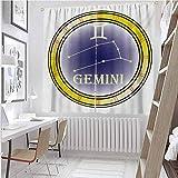 Toopeek Zodiac Gemini Cortina de color resistente al desgaste con símbolos y constelación Destiny and Stars Theme Tela impermeable W100 x L84 pulgadas, azul marino, amarillo y naranja