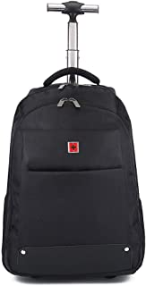 GLJJQMY Travel Bag Backpack Trolley Bag Travel Student Large Capacity Suitcase Shoulder Computer Backpack Trolley Backpack (Color : Black, Size : 53x22x34cm)