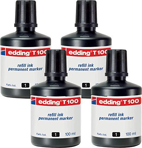 edding T100 Permanentmarker Nachfülltinte - schwarz - Inhalt: 4x 100ml - Tusche für edding Permanent Marker (auch edding EcoLine)