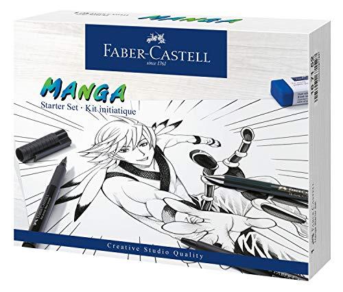 Faber-Castell 167152 - Tuschestift Pitt Artist Pen Manga Advanced Set, 3 Tuschezeichner und Zubehör, 8 Teilig