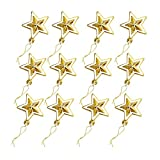 Liitrton 12 Pieces Shatterproof Hanging Star Christmas Ornaments Holiday Wedding Tree Decorations (Gold)