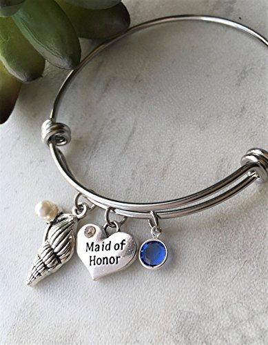 September Birthday Maid of Honor Seashell Bangle Bracelet Wedding Gift