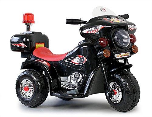 Toyas Kindermotorrad Elektromotorrad Kinderfahrzeug Dreirad Kinder Polizei Motorrad in Schwarz