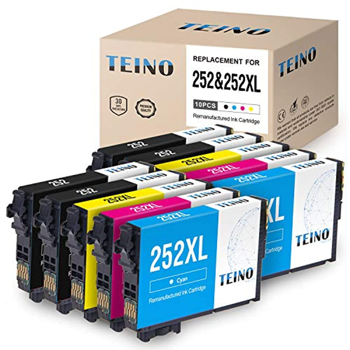 TEINO Remanufactured Ink Cartridge Replacement for Epson 252 252 XL T252 T252XL120 (4 Black 2 Cyan 2 Magenta 2 Yellow, 10-Pack)