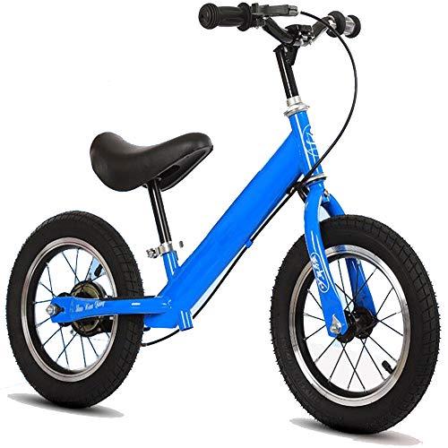 JLYLY Bicicleta De Equilibrio De Los Niños con Juguete Al Aire Libre De Coches Walker De Bastidor del Freno De Acero Al Carbono De Alta Inflable De Neumáticos Niños,Azul