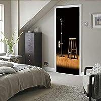 ドアステッカーブラックナイトマイクPvc自己粘着壁紙Diy家の装飾シミュレーションポスターウォールステッカー90X215Cm