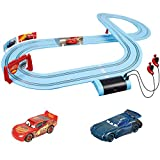 Carrera First Disney/Pixar Cars - Slot Car Race Track - Includes 2 Cars: Lightning McQueen and Jackson Storm - Battery-Powered Beginner Racing Set for Kids Ages 3 Years and Up