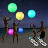 Icnice LED Beach Balls Glow in Dark Party Supplies, 2pcs Inflatable Light up Ballon 16'' Floating Pool Light with Remote 13 Color 4 Mode Beach Game Pool Toy Kickball for Neon Party Decoration-4 Lights