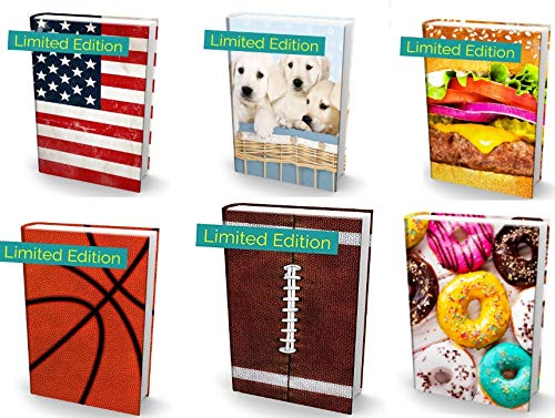 Book Sox Stretchable Book Cover: 6 Print Value Pack. Fits Most Hardcover Textbooks up to 9 x 11. Adhesive-Free, Nylon Fabric School Book Protector Easy to Put On Jacket wash Re-use