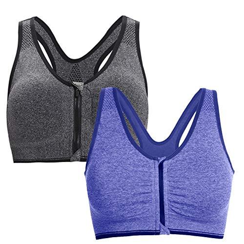 Aibrou Damen Sport BH Starker Halt Große Brüste Reißverschluss Gepolstert BH ohne Bügel Push Up für Fitness Training Mix 2er Pack M