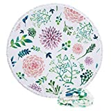 Large Thick Round Green Leaf Floral Flower Microfiber Beach Towel,Soft Sand Free Water Absorbent Quick Dry Multipurpose Picnic Tapestry Table Cloth Yoga Throw Mat Blanket with Tassels 59'