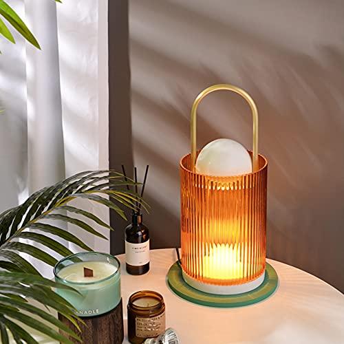QLIGHA Lámpara Calentador De Velas Lámpara De Fusión De Cera De Aromaterapia con Regulador De Intensidad Quemador De Cera Eléctrico Lámpara De Mesa De Dormitorio Lámpara De Noche Pequeña
