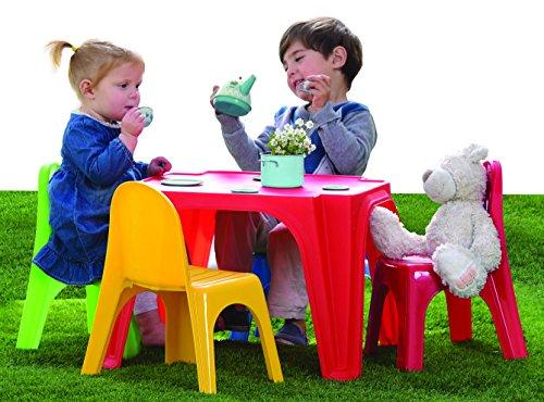 Table de pique-nique pour enfants Table d'extérieur avec chaises Dimensions 55,5 x 55,5 x 36,5 cm Idéale pour de tranquilles après-midis de jeu.