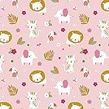 Schickliesel Jersey Stoff Meterware Tierkinder (rosa)