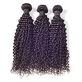 Ruiyu 7A Grade Brazilian Virgin Hair Human Hair Weave 3 Bundles Kinky Curly Hair Weft Human Hair Extensions Natural Color 26 28 28 Inches Pack of 3