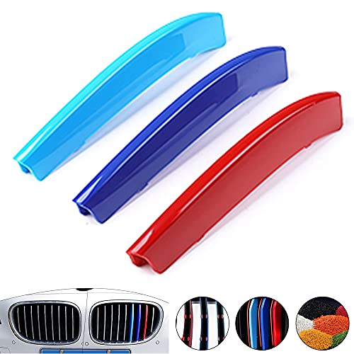 Aoyade M-Colored Grille for BMW 7 Series F01 F02 730i 740i 750i 760i 730Li 740Li 750Li 760Li 2014-2015 (9 Grille) ABS Strips Grille Insert Trim Sport Front Grill (3Pcs)