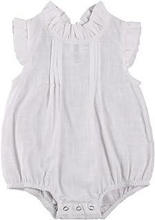 طفلة رومبير الرضع الصلبة اللون مطوي بذلة الوليد الطيران منزعج كم المنشعب زر قطعة واحدة (Color : White, Kid Size : 6M)
