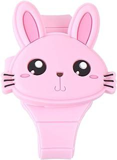 Relógio de silicone Hemobllo com desenho em forma de coelho, relógio digital com concha, para meninos e meninas (rosa claro)