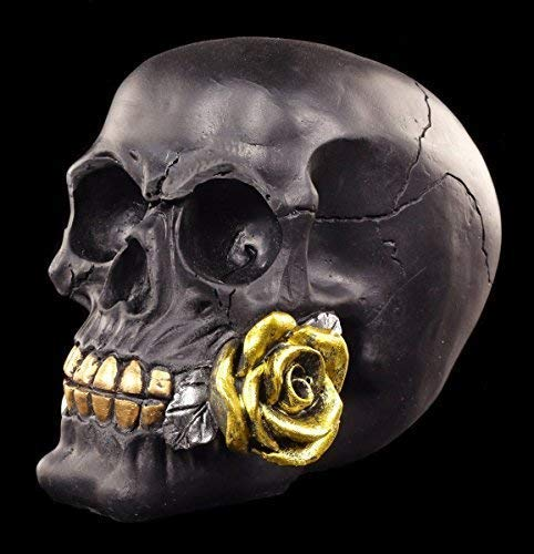 Figuren Shop GmbH Totenkopf mit Rose - Black Rose from Dead, Handbemalt   Gothicfigur