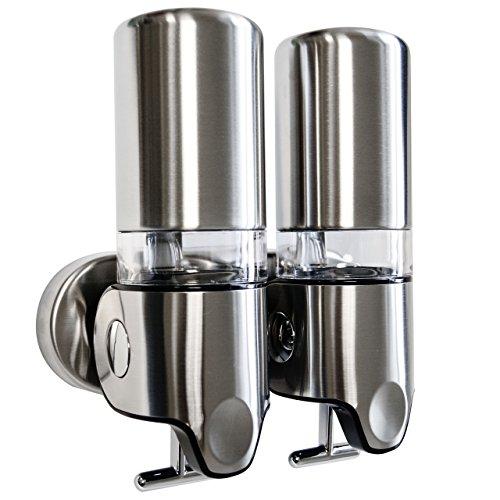 Dispenser Doccia Per Sapone Liquido in Acciaio Inox Spazzolato (Doppio)
