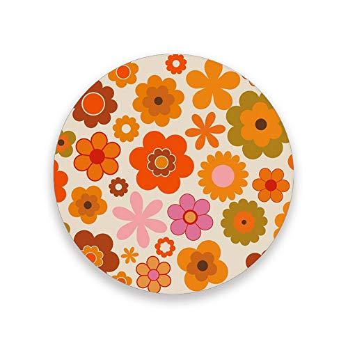 CHEHONG Posavasos absorbentes de color naranja, base de corcho de cerámica, base de corcho de cerámica, decoración del hogar, oficina, tazas de cristal, mesa de comedor, 1 2, 4, Cerámica + base de corcho., Color, Set of 1