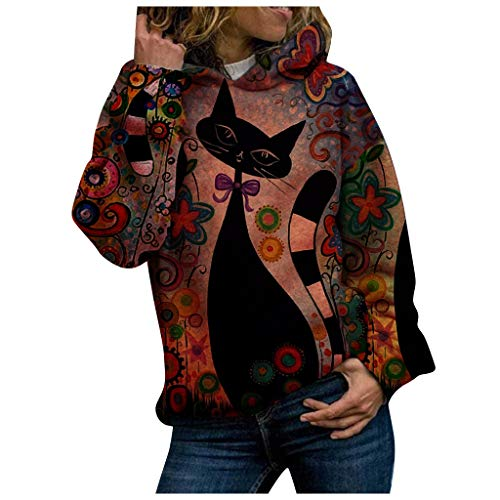 Fashion Halloween Hoodie Winter Women Hood Animal Cat Printing Long Sleeves Pullover Blouses Sweatshirt Tops Plus Size Loose Casual Ladies Jumpe Best Gift for Mother Daughter Wife Red