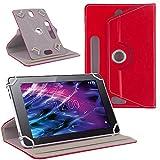 NAUC Tasche Hülle für Medion Lifetab S10321 Schutzhülle Tablet Cover Case Bag, Modellauswahl:Rot 360° mit Univ. Kameraausschnitt