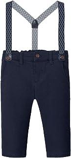 Pantalones chinos elegantes forrados con tirantes opcionales en azul marino para niños de Mayoral 2575
