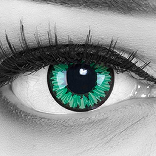MeralenS farbige grüne Kontaktlinsen Green Flower. Ideal zu Fasching, Halloween, Sharingan, Manga und Anime mit gratis Kontaktlinsenbehälter 1 Paar weiche ohne Stärke 12 Monatslinsen
