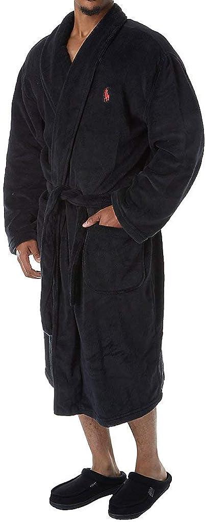 Polo Ralph Lauren Men's Microfiber Plush Long Sleeve Shawl Collar Robe at  Men's Clothing store