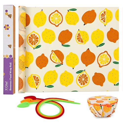 X-Chef Envoltorio de Cera de Abeja para Alimentos, Rollo de Envoltura de Cera de Abeja con Cuerdas de Silicona, Beeswax Wrap, 99 x 33 cm, Dibujo de Limón