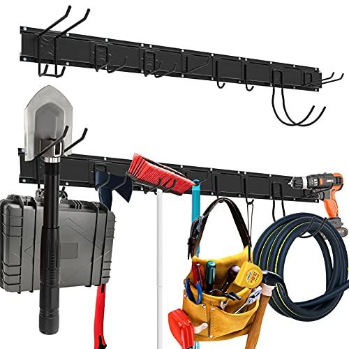 Housolution Adjustable Garage Storage System 48 Inch, 3 Rail 9 Hooks Tool Storage Rack for Garage Storage, Garden Tool Organizer, Tool Holder Wall Mount for Warehouse, Basement, Workshop