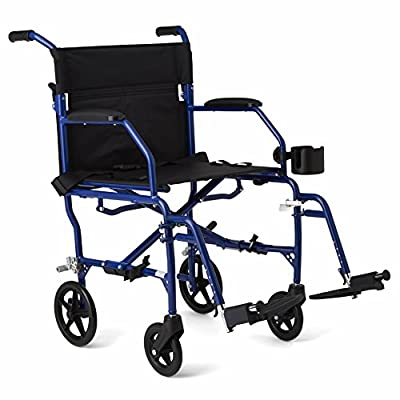 """Medline Ultralight Transport Chair, 19"""" Wide Seat, Permanent Desk-Length Arms, Swing Away Footrests"""
