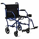 """Medline Ultralight Transport Wheelchair with 19"""" Wide Seat, Folding Transport Chair with Permanent Desk-Length Arms, Blue Frame"""