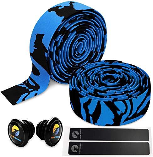 TOPCABIN® Camouflage Series Comfort Gel Cinta de Manillar de Bicicleta Cinta de Bar de Bicicleta con Tapones Reflectantes (Azul-Negro (un par))