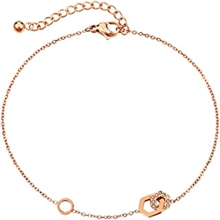 CXQ Fashion Temperament Feet Simple Double Chain Chain Rose Gold Foot Ring Jewelry Couple Accessories Gift