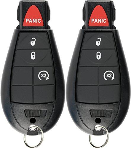 KeylessOption Keyless Entry Remote Car Key Fob Alarm for Jeep Cherokee, Dodge Ram GQ4-53T (Pack of 2)