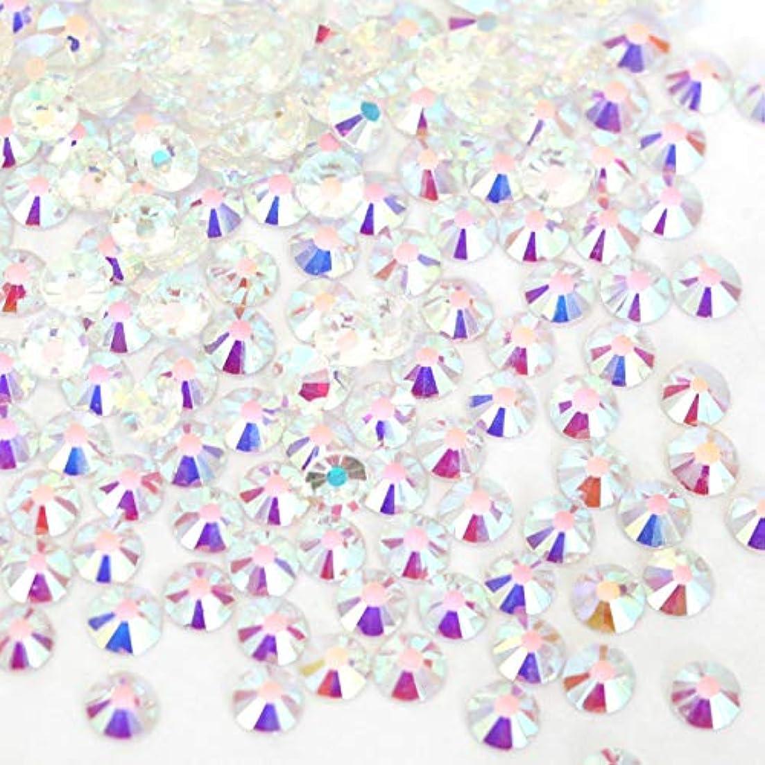 オセアニア新しさマーケティング【ラインストーン77】 ガラス製ラインストーン オーロラクリスタルアンホイル(透明底)各サイズ選択可能 スワロフスキー同等 (SS16 約150粒)