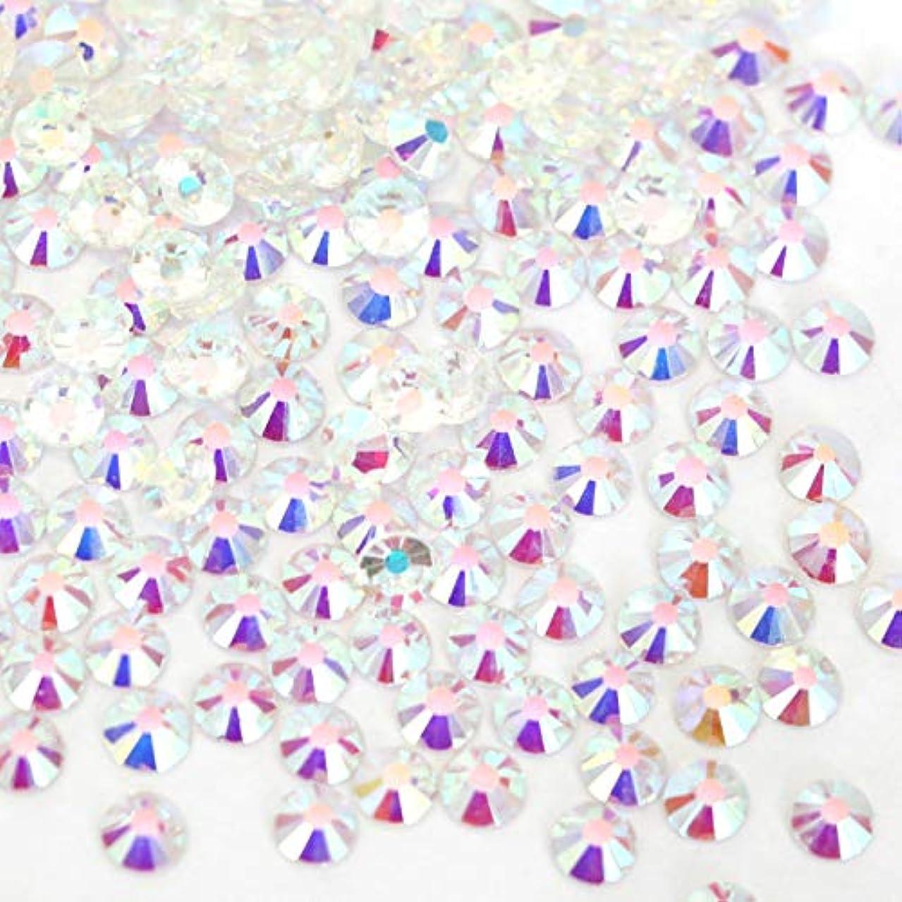 接地快適熟達した【ラインストーン77】 ガラス製ラインストーン オーロラクリスタルアンホイル(透明底)各サイズ選択可能 スワロフスキー同等 (SS16 約150粒)
